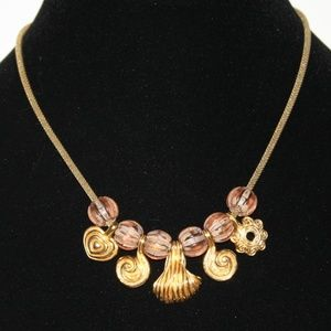 Vintage gold and glass bead necklace